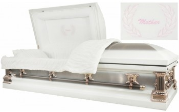 2213 - Mother Casket 18ga White w/ Copper Brush, Silver Rose Hardware