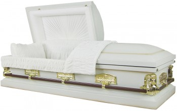 8021 - White Angel Casket, 18ga  Last Supper, Antique White shaded Texas Gold