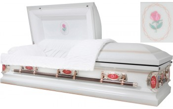 8042 - 18 Gauge Steel Casket Antique White and Rose Shaded Finish