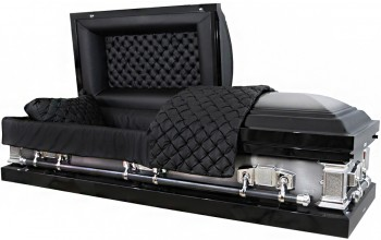 8221 - Black w/ Natural Brush 18ga Black Quilted Leather Look, Silver Hardware