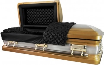 8222 - Gold w/ Natural Brush 18ga Black Quilted Leather Look, Gold Hardware