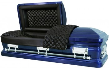 8242 - Cobalt Blue 18ga Black Quilted Leather Look, Silver Hardware