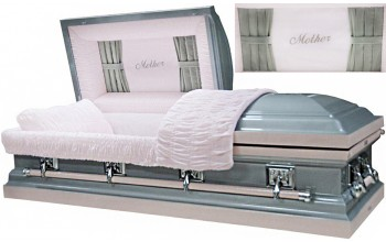 8268 - Mother Casket w/ Curtains Head Panel, 18ga Gray with Pink, Sterling Rose  Silver Hardware, Pink Velvet