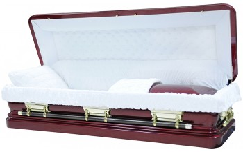 8283a-FC - Full Couch w/ Foot Panel, 18ga Steel Casket Burgundy finish - Quilted Velvet - Gold Hardware