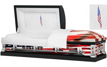 8314 - Marines Wrapped Casket, 18ga White Interior Flag Head Panel