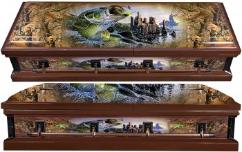 8319a - Fish Wrapped Casket - 18 GaugeFish Embroidery  Beige Interior
