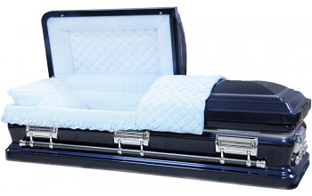 8352 - 18 Gauge Steel Casket Navy Blue finish W/ Silver Accent - Quilted Velvet - Silver Hardware