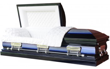 8381- 18 Gauge Steel Casket Dark Blue and Light Blue with Silver Shade