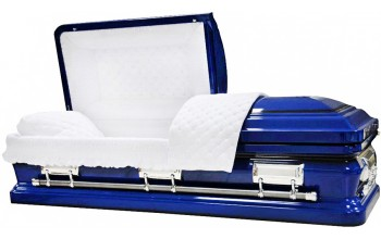 8474 - Royal Blue Casket W/ Black AccentsWhite Quilted Velvet - Silver Hardware