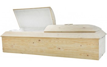 8799B - Pine Box Jewish Casket White Crepe  InteriorWith or Without Star of David