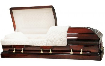 8883 - Solid Mahogany Casket  Almond Interior, High Gloss
