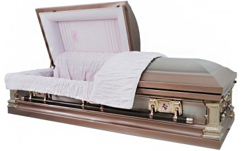 8951 - Stainless Steel Casket Brushed Silver Rose Shaded Platinum