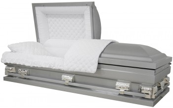 """9399-29  - Silver Casket with NO Accent Paint Silver Hardware, White Velvet 27 1/2"""" inside/ 28 3/4"""" out"""